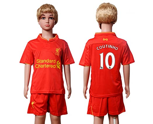 sports shoes 6e97a fc528 liverpool 10 coutinho red home youth kids child short ...
