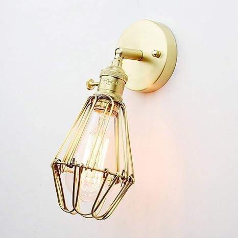 Vintage Loft Lámpara de pared de cobre, creativa, metal, jaula ...