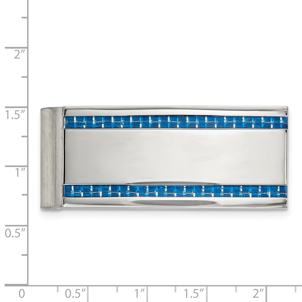 Stainless Steel Mens Accessory Money Clips Blue 21.97 mm 53.41 mm Polished Blue Carbon Fiber Inlay Money Clip