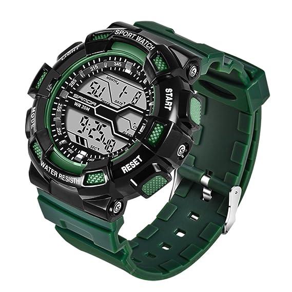 Reloj unisex,Moda diseño ocio electrónico reloj multifunción digital deportes al aire libre impermeable piscina-D: Amazon.es: Relojes