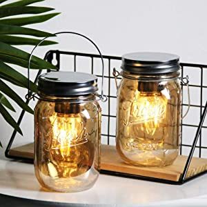 2-Pack Mason Jar Lights Hanging,Battery Operated Lamp with LED Bulb, Cordless Lanterns for Patio,Outdoor Indoor Decor for Garden Camping Picnic Party Fireplace Hallway Stairs (Amber-2Pack-No Timer)