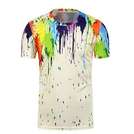 LuckyGirls Camisa Camisetas Originales Hombre Manga Cortos Verano 3D Estampado de Multicolor Deportivas Blusa Moda Polos