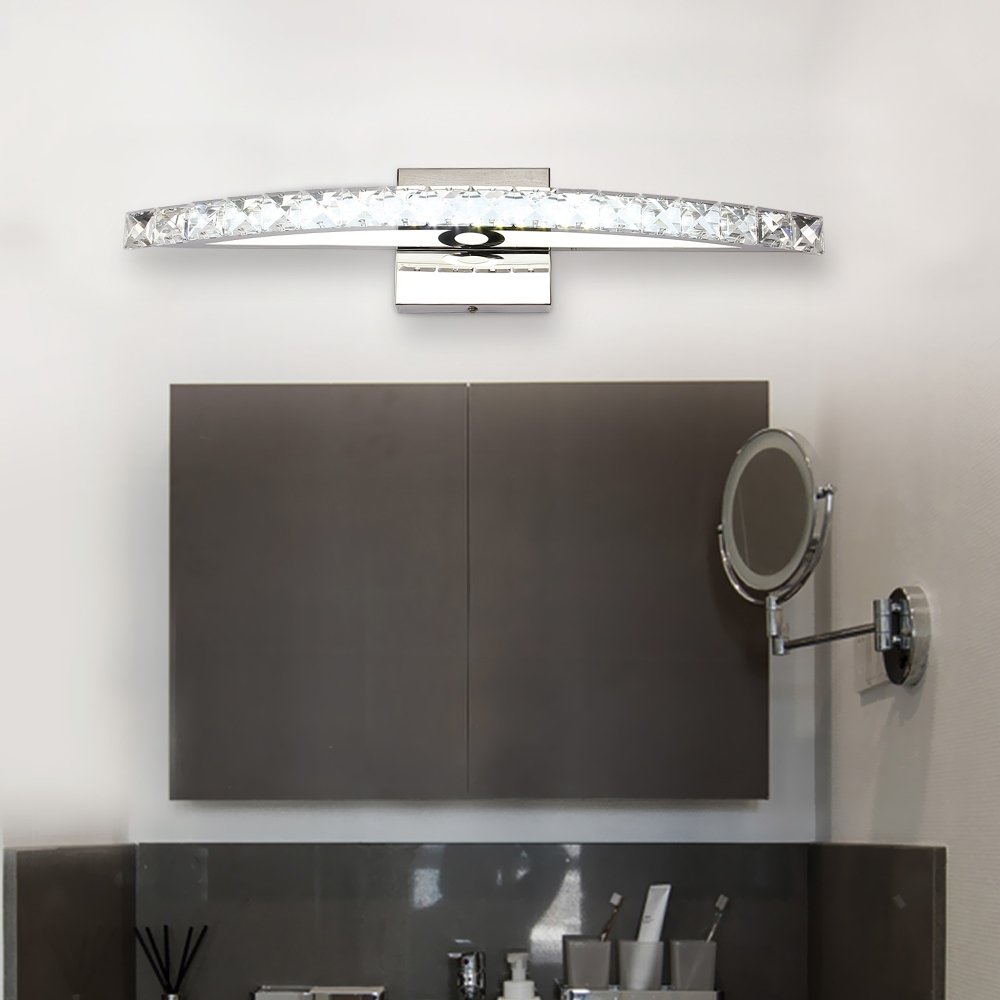 Bathroom Vanity Lights 21.3 in 15W Bathroom Light Fixtures 6000K Cool White LED Vanity Lights Chrome Stainless Steel Crystal Wall Mirror Front Vanity Lights by BANBUM (Image #4)