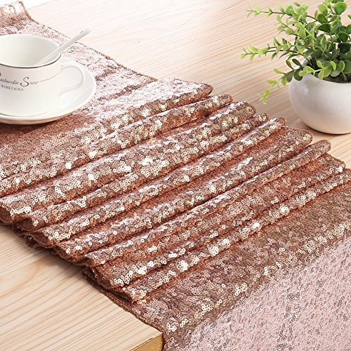 Meijuner 3MM Sequin Table Runners 14 Inch Width By 108 Inch Length Glitter Champagne Gold Table Runner Party Supplies Fabric Decorations For Wedding Birthday Baby Shower