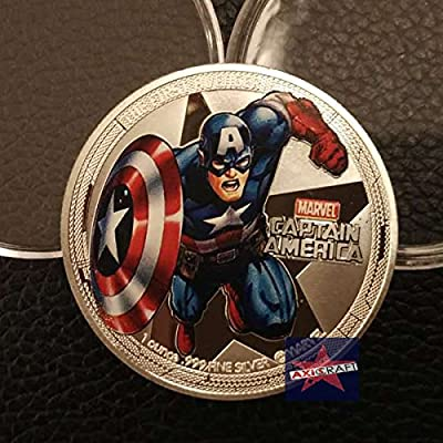 Captain America Marvel Superhero Superman Silver Plated Colorized Coin Comics Movie Coin Souvenir Coin Commemorative Coin