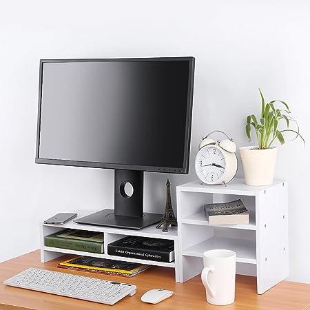 CLAUKING Soporte Alzador de Pantalla Monitor para Ordenador de Madera, Monitor Stand Lever Pantalla PC TV con estantería de Almacenamiento Tablet: Amazon.es: Hogar