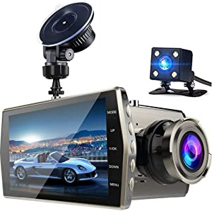 "Dash Cam, 1080P Front and Rear Dual Dash Camera with Full HD 4"" LCD Screen8565487"