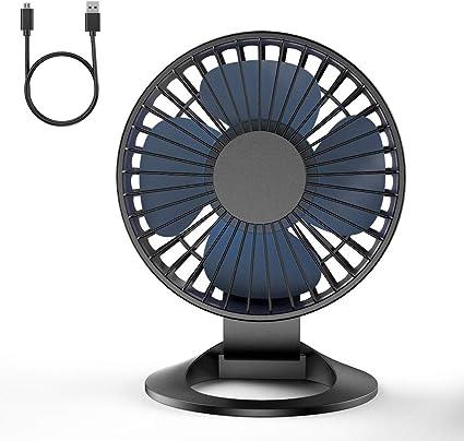 Color : Blue Mini Portable Cooling Fan USB Car Fan Laptop Charging Desktop Fan 360 Degree Silent Double Fan