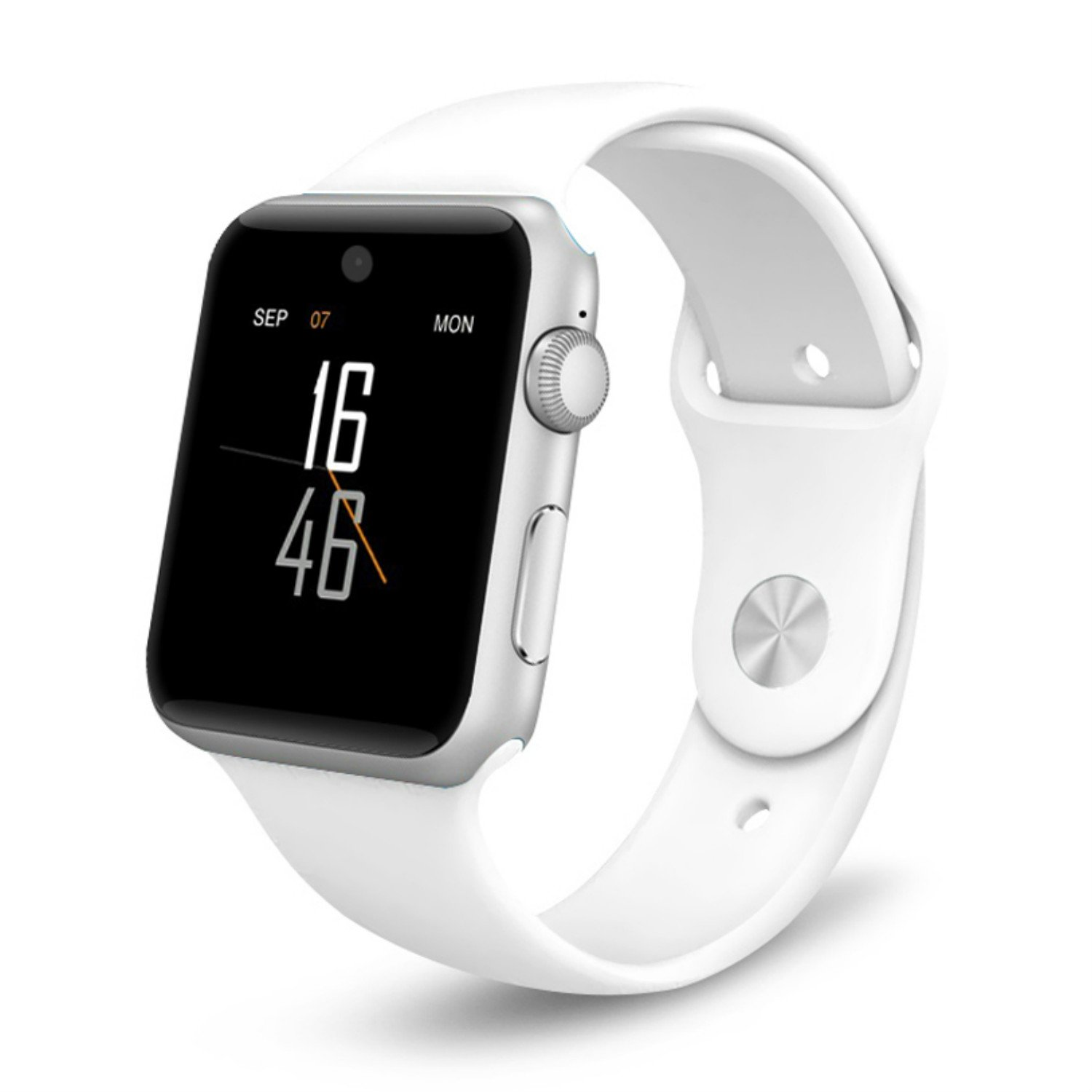 Smart Watch Bluetooth Smartwatch Touch Screen BT4.0 Support SIM Card with HD Camera Health Monitor Call Alert Messages Sync Sport Tracker Watch Compatible with Apple iPhone iOS Android Samsung (White)