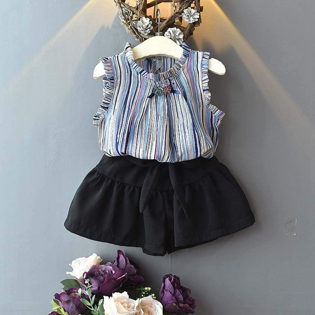 DAmeng Infant Baby Girl Kid Sleeveless Flowers Striped Tops T Shirt+Shorts Outfits Set
