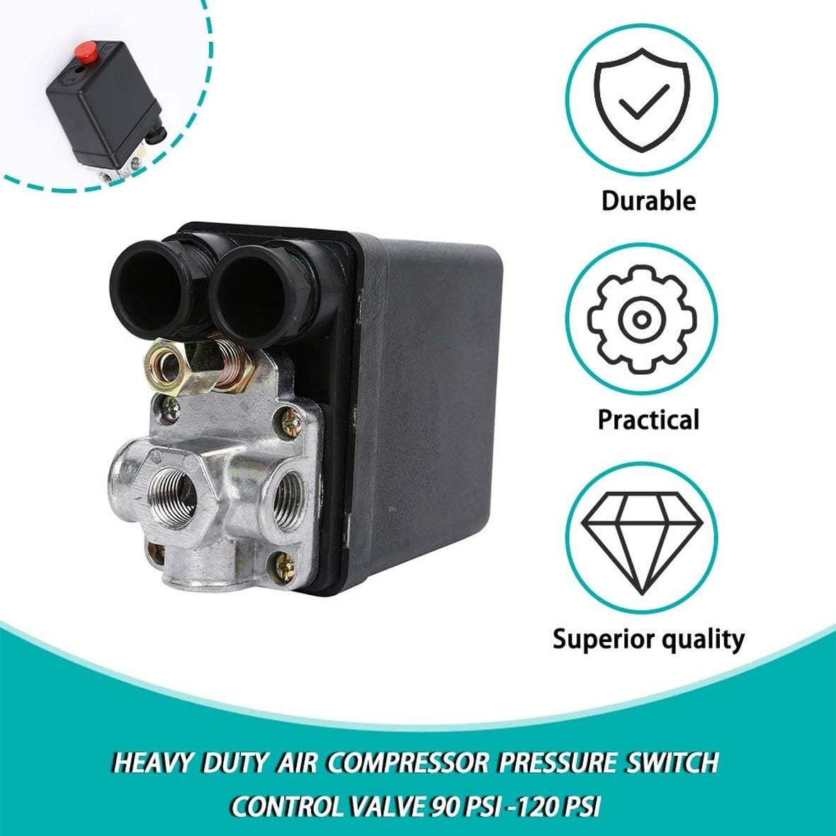 Heavy Duty 240 V 16A Auto Control Auto Carico//Scarica Pressostato Compressore daria Valvola di controllo 90 PSI Nero 120 PSI