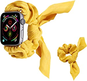 UooMoo Band Scrunchies Compatible with Apple Watch 1/2/3/4/5 38mm/40mm,Women Girls Rabbit Elastics Hair Wristbands Replacement for iWatch Series 1 2 3 4 5[Headband Scrunchy Included]