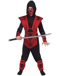 Fun World Skull Lord Ninja Costume, Large 12 - 14, Multicolor
