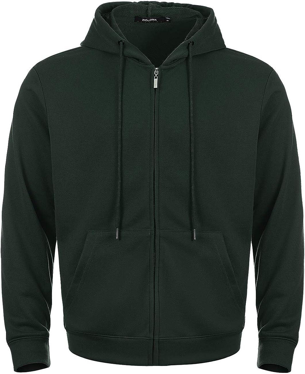 ZIOLOMA Mens Lightweight Full Zip Up Hoodie Hooded Active Sweatshirt: Clothing