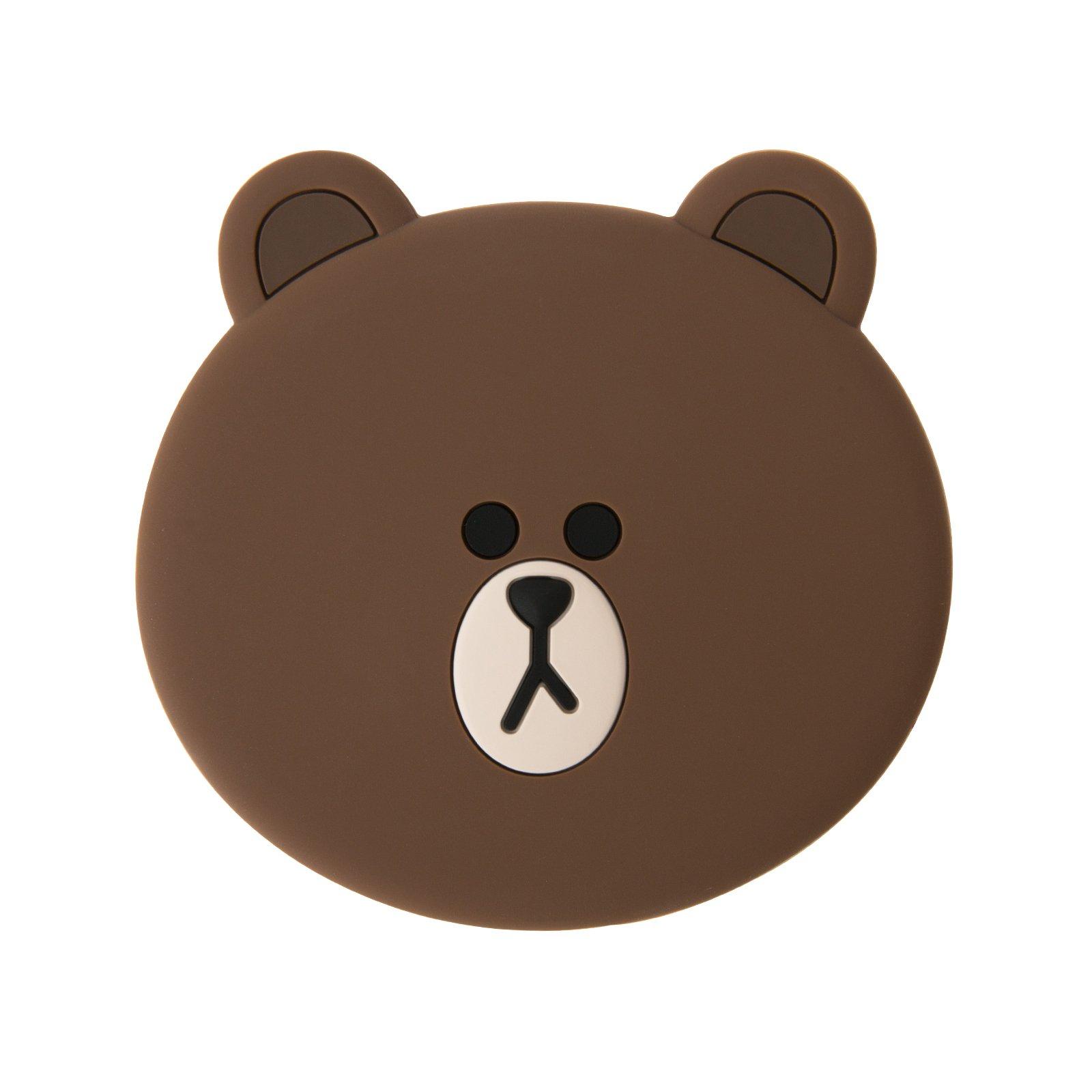 LINE FRIENDS Bear Face Hand Mirror Pocket Mirror One Size Brown