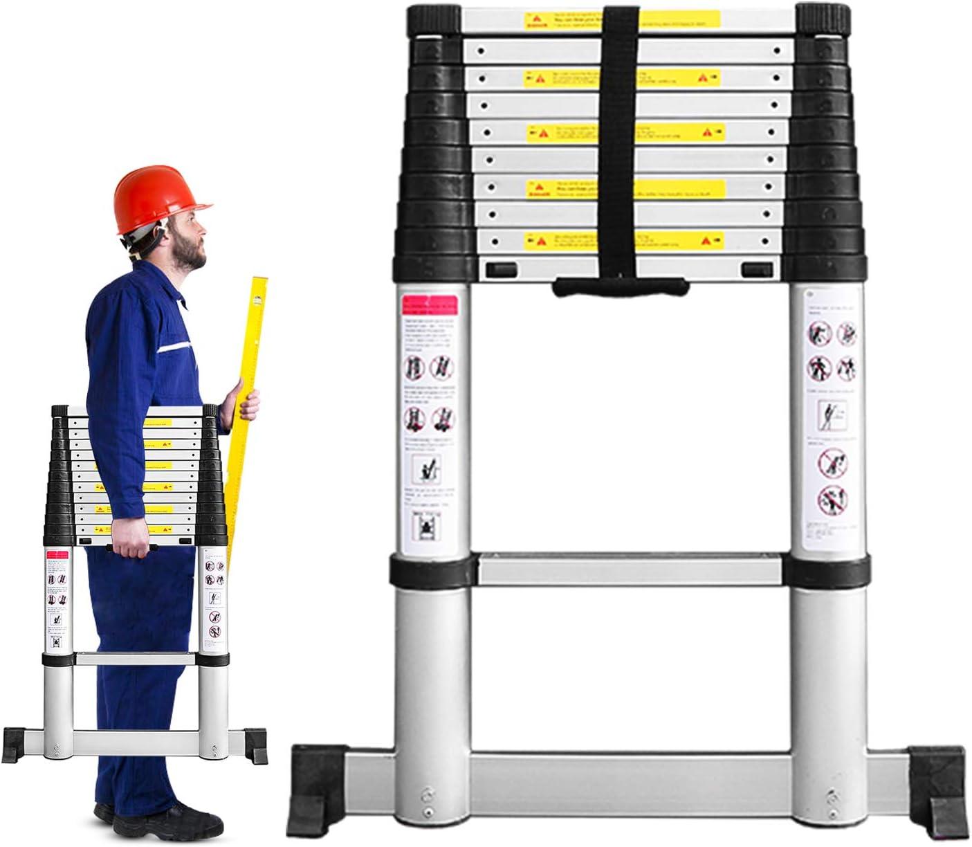Todeco 3,2m Escalera Telescópicaescalera Plegable, Escaleras de Aluminio con Barra Estabilizadora, 11 Peldaños Escaleras Escamoteables Carga Máxima 150 kg: Amazon.es: Bricolaje y herramientas