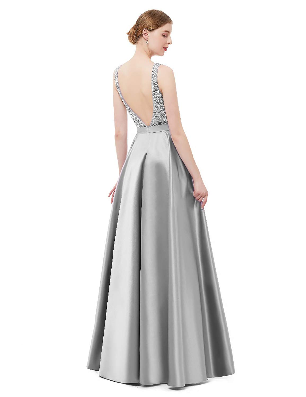 4cc1cfbd6155b Monabridal A Line Sexy V Neck Beaded Satin Evening Dresses for Women Prom  Dress 2019 Empire Waist Open Back Formal Ball Gown Long Cocktail Dress ...