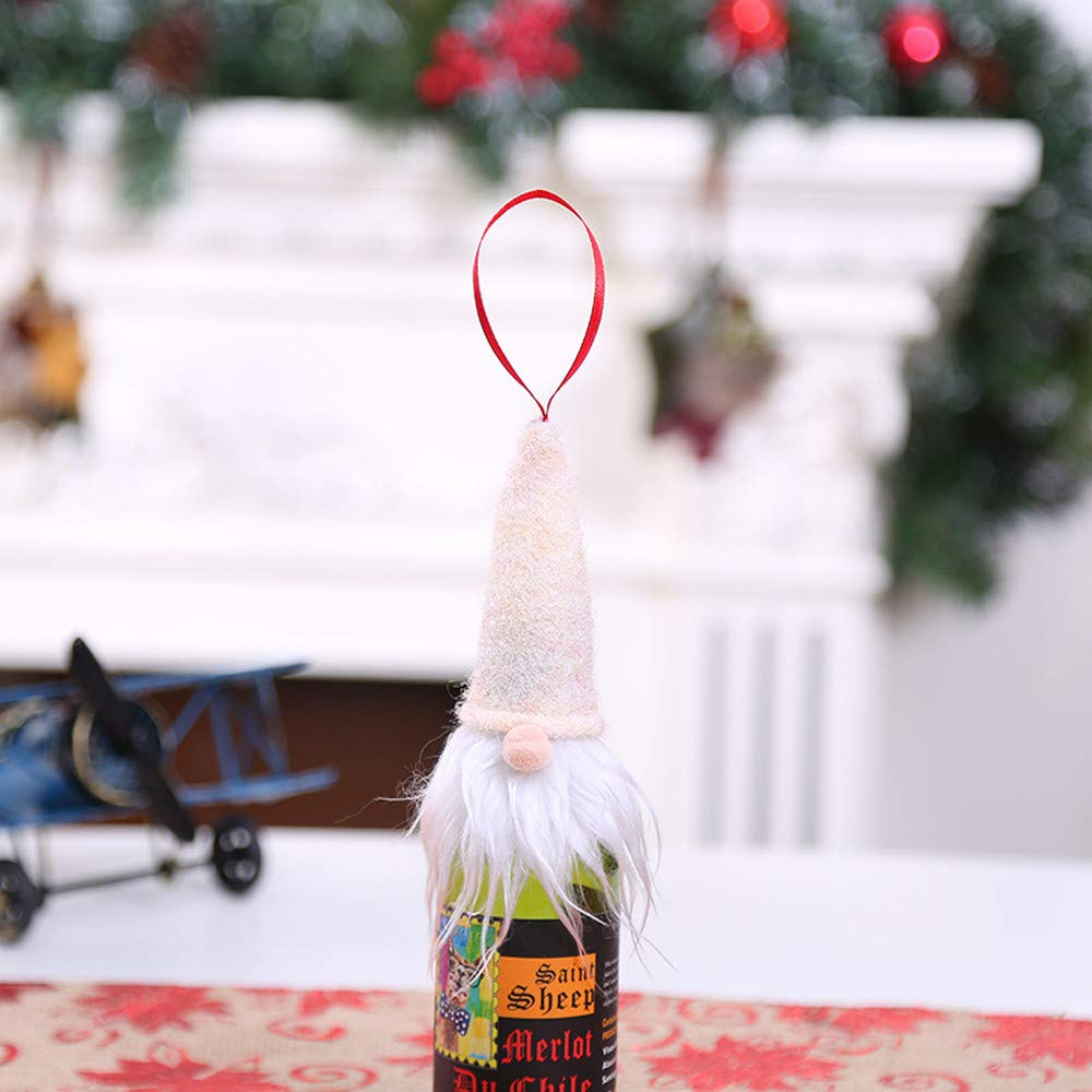 HANANei Bottle Decoration, Christmas Wine Bottle Set Santa Decoration Xmas Bottle Cap Xmas Decor (Beige)
