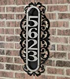 Touch Of Class Metal LaRoyal Vertical House Number Plaque Silver/Black Four to Five Numbers