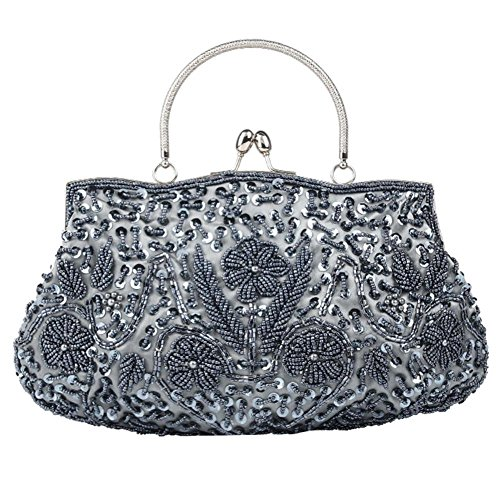 Dinner Sequin 30 Satin 26cm X Grey Evening Beaded Bags Clutch Bag NVBAO Party Womens nFAIqvAwY