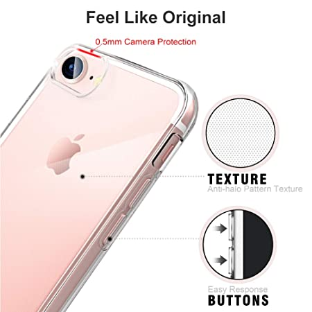 Funda iPhone 7, Funda iPhone 8, Suzi Ultra Fina Suave de Silicona TPU Full Protección Funda para iPhone 7/8 4.7 Pulgadas -Transparent