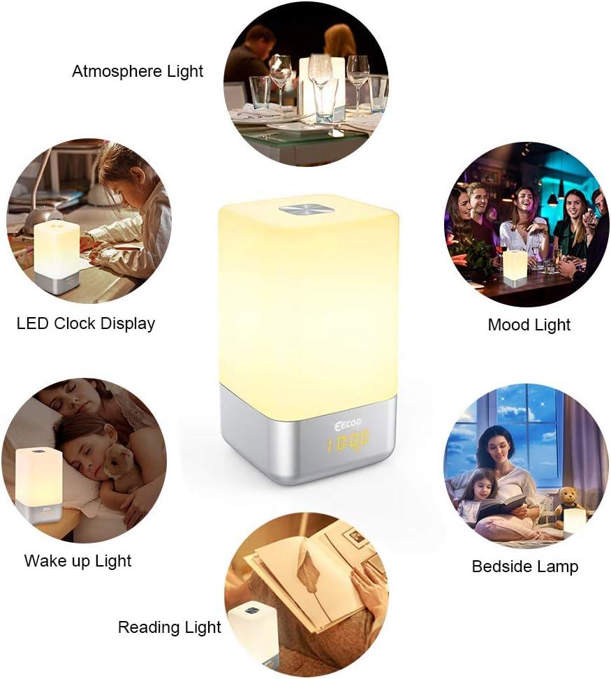 Wake up Licht Lichtwecker Sonnenaufgangfunktion 5 nat/ürlicher Klang LED Nachtlicht mit Batterie USB touch control Tischlampen f/ür Kinder Erwachsene