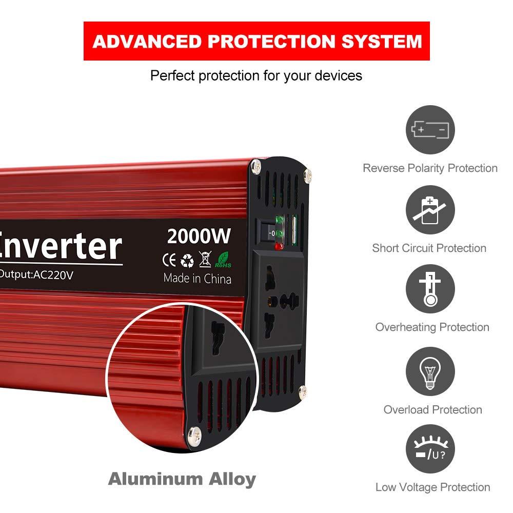 imoli 2000W Car Power Inverter, DC a AC 12V a 220V-240V, 4000W Peak Power, Salida de CA y Puertos USB duales, convertidor de Onda sinusoidal ...