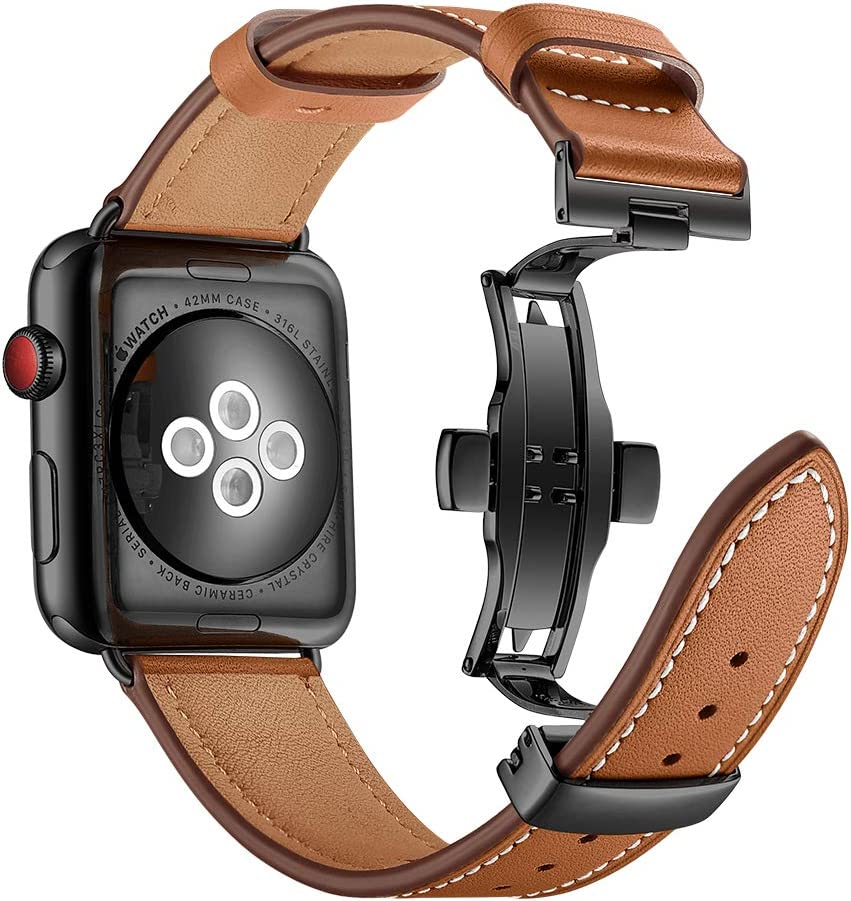 Aottom Compatible for Apple Watch Band 44mm Genuine Leather iWatch Band 42mm Men Women Sport Wristband Metal Butterfly Buckle Bracelet Replacement Band for 42mm 44mm Apple Watch SE Series 6/5/4/3/2/1