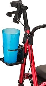 NOVA Medical Products Cup Holder for Star & Express Rollator, Cup Holder for Oval Tube NOVA Rollator Walkers, Adjustable & Foldable Drink Holder, Black