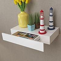 Lingjiushopping estante para paredes con cajón, blanco MDF