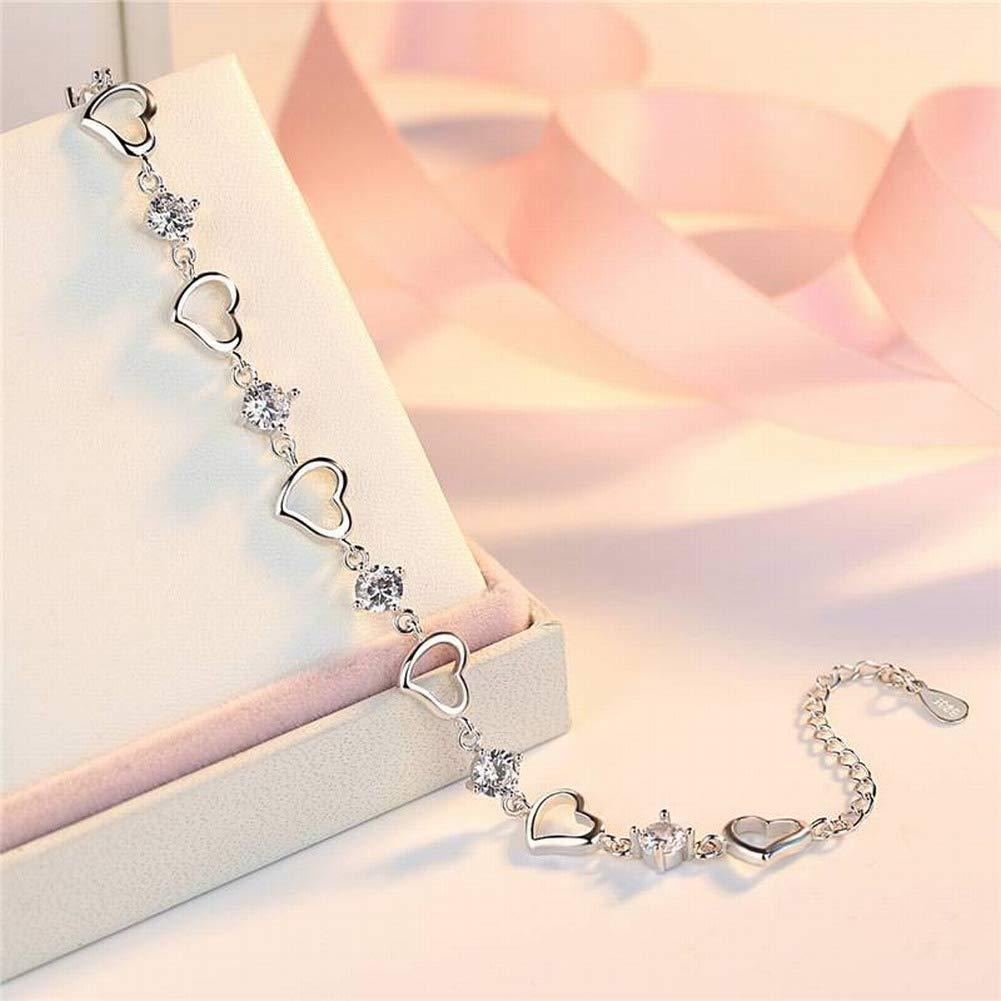 Aoxishiye Elegants Womens Bracelets Womens Western Fashion Fashion Heart Bracelet S925 Silver Heart Hearts Bracelet Heart Shape Fashion Personality Simple Bracelet Lovers Lovers Send Girlfriends