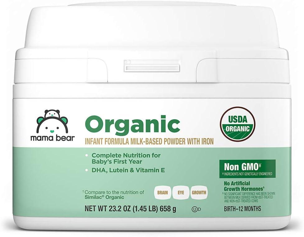 Amazon Brand - Mama Bear USDA-Certified Organic Milk-Based Powder Infant Formula with Iron, 23.2 Ounce