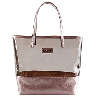 396009dea Glitter Tote Bag- Beach Bag Purse - Clear Vinyl Shoulder Bag with ...