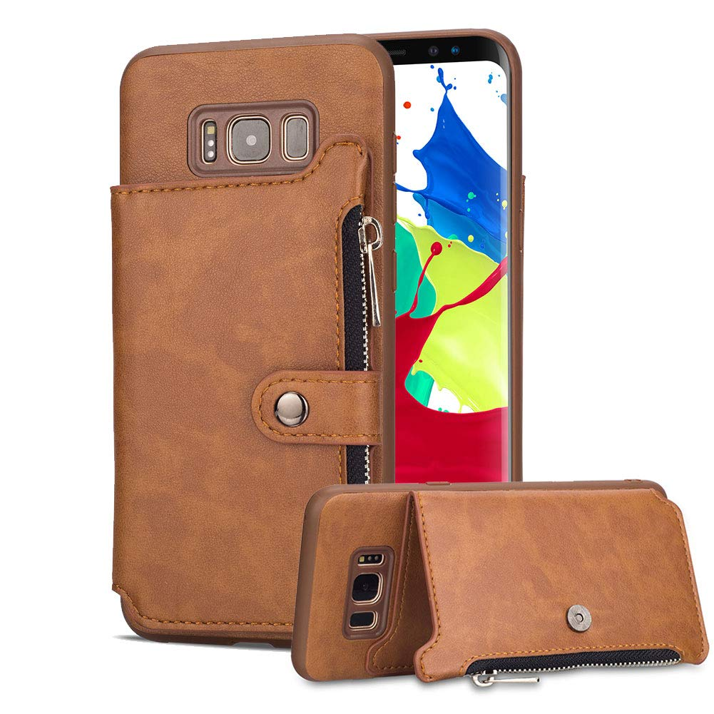 Aearl Samsung Galaxy S8 Plus Zipper Wallet Case,Galaxy S8 Plus Leather Case with Card Holder,Flip Folio Credit Card Slot Money Pocket Magnetic Detachable Buckle Wallet Phone Case for Women Men-Brown by Aearl