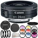 Canon EF-S 24mm f/2.8 STM Lens 8PC Filter Kit. Includes Canon EF-S 24mm f/2.8 STM Lens + 3PC Filter Kit (UV-CPL-FLD) + 4PC Macro Filter Set (+1,+2,+4,+10) + 6PC Graduated Filter Kit + More - International Version (No Warranty)