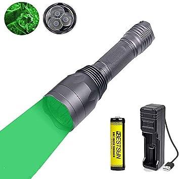 Linterna verde, linterna LED con luz verde Linterna de caza ...