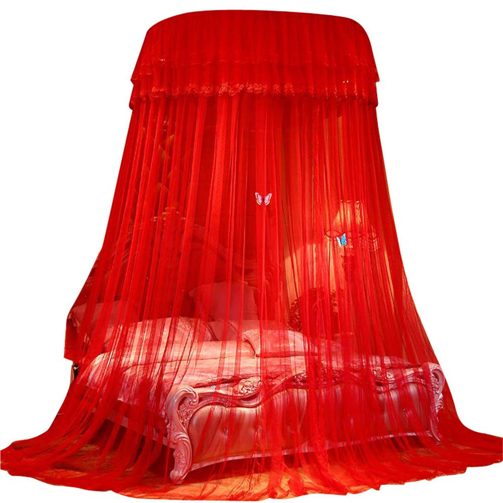 Bed Canopy, Girls Bed Net Drapes,Princess Bed Canopy Romantic Round Dome Double Ruffles Mosquito Net for King Queen Full Twin Size Bed