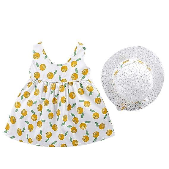 Sannysis Vestido Lunares limóns para Bebe niña sin Manga Falda ...