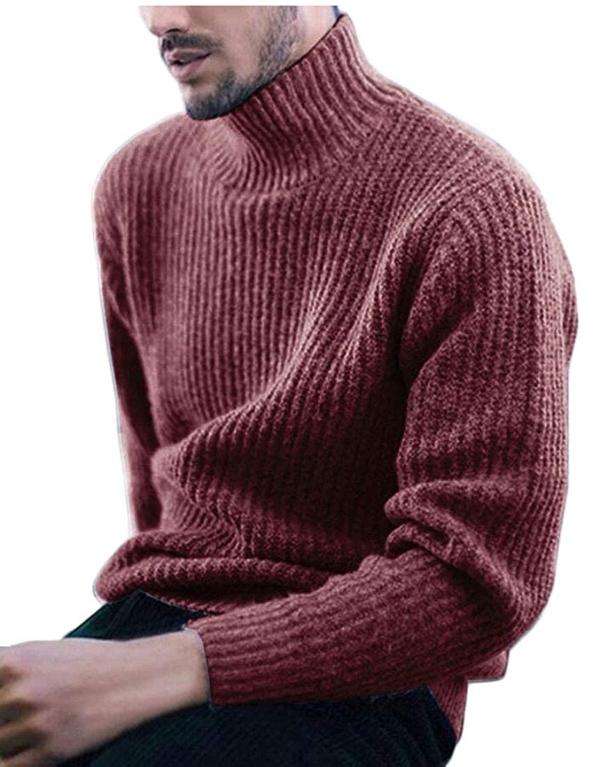 UNINUKOO Unko Men Sweaters Turtleneck Slim Fit Pullover Fall Winter Casual Knit Blouse