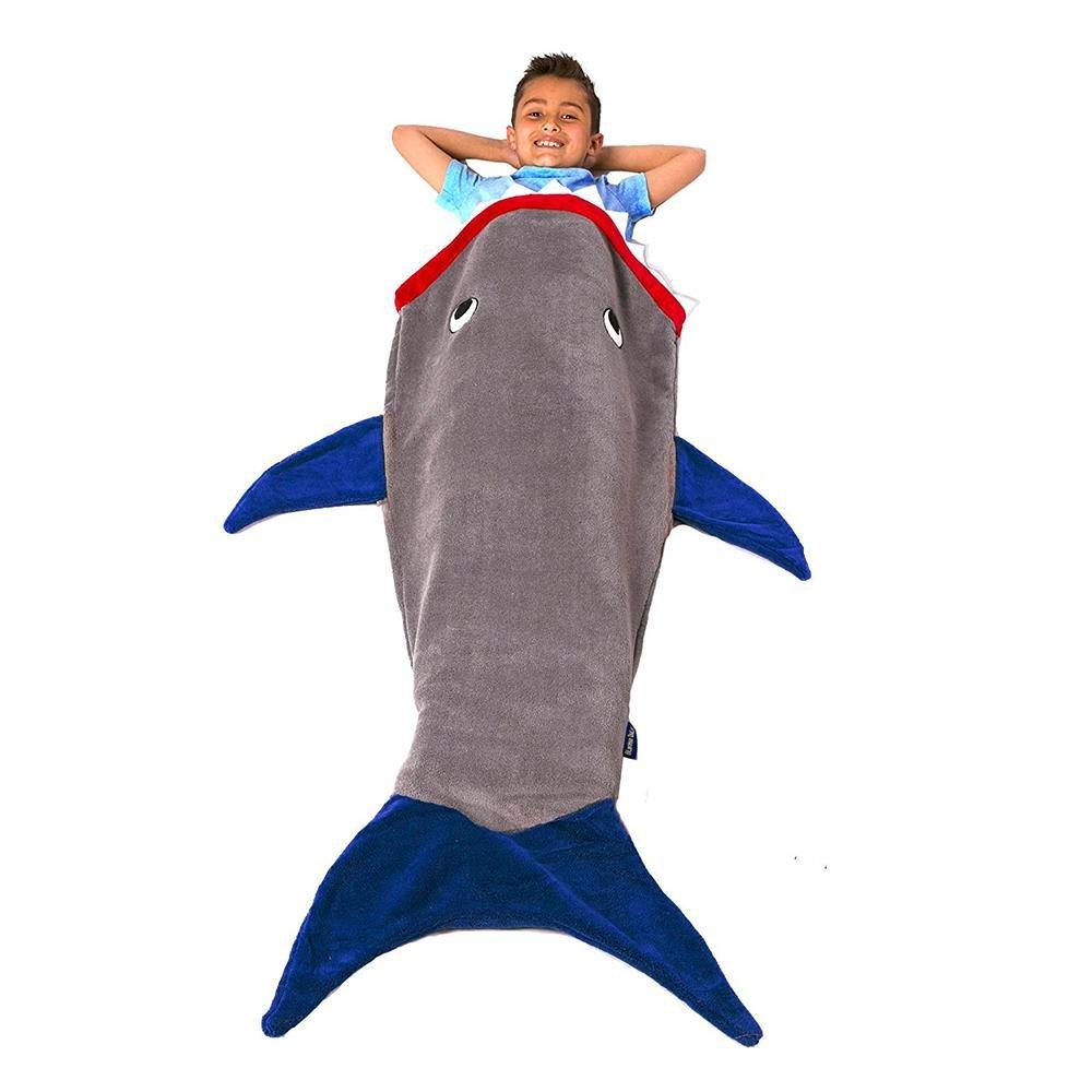 niceEshop(TM) Sac de Couchage en Polaire Double Couches sous Forme de Queue de Sirène pour Enfants (Bleu)