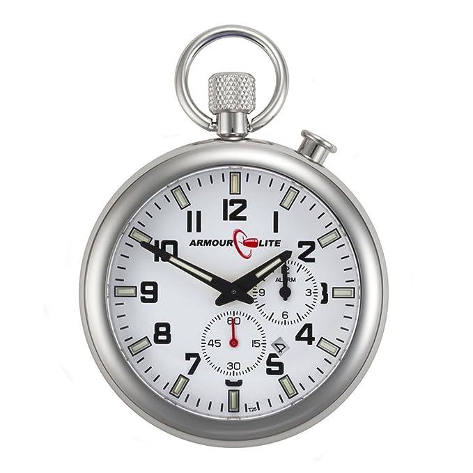 Amazon.com: White Dial Alarm Clock Tritium Pocket Watch by Armourlite: Watches