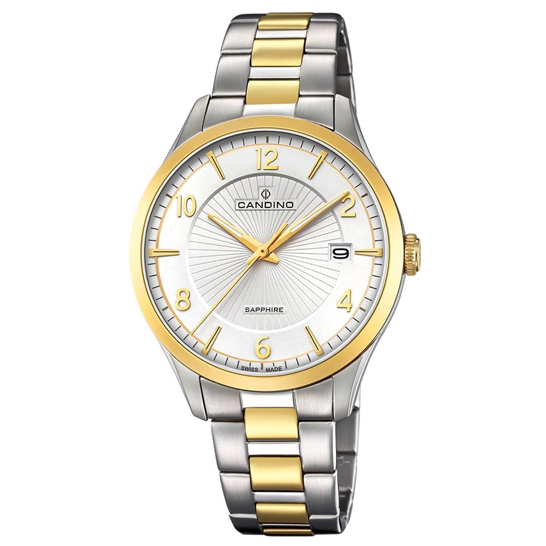 Candino Armbanduhr fÜr Herren Saphir analog Elegant mit Edelstahl-Armband silber gold Quarz-Uhr UC4631-1