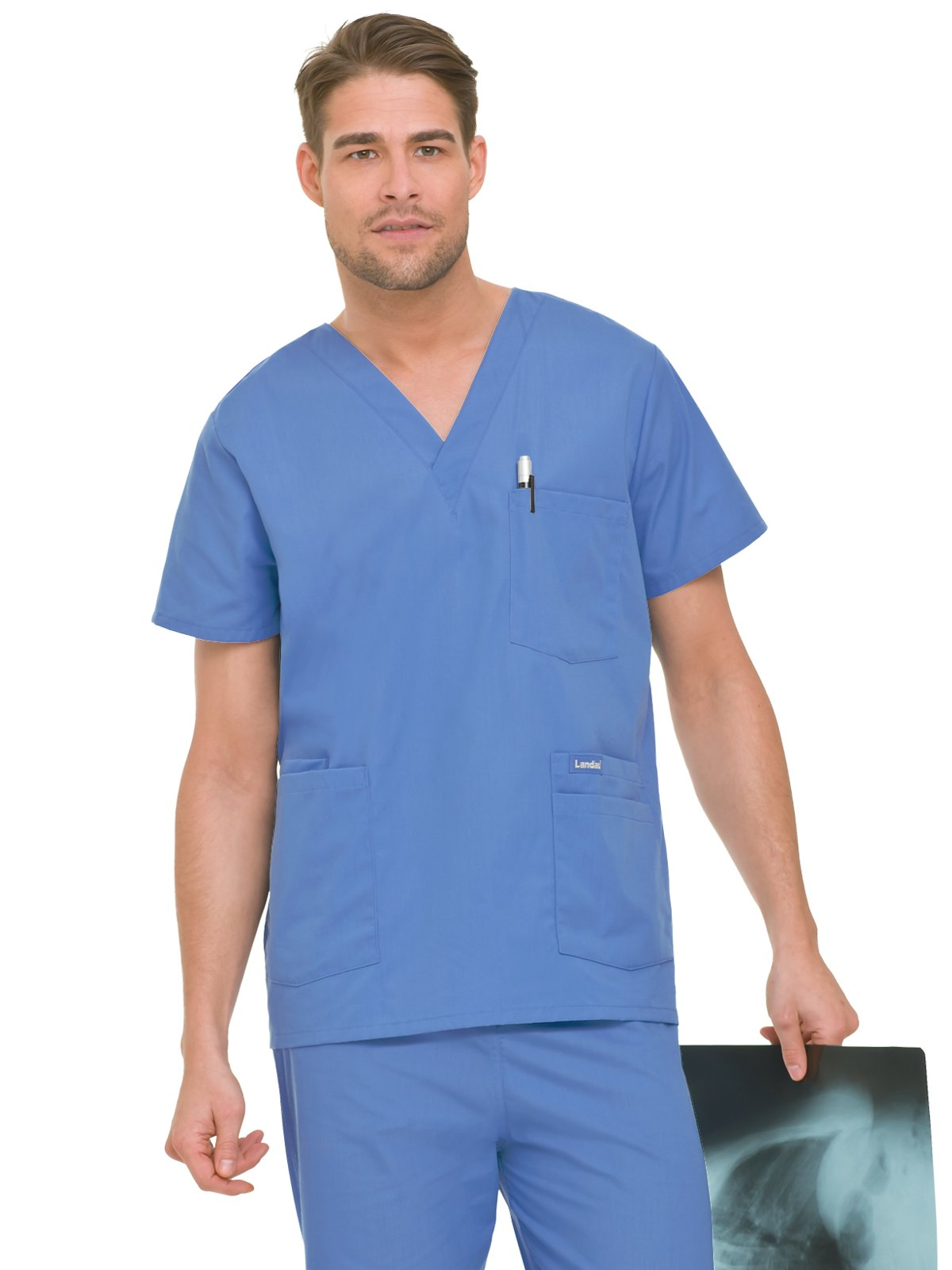 Landau Essentials Men's 5-Pocket Scrub Top Ceil Blue L