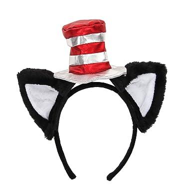 b5cc1af2 Amazon.com: Dr. Seuss Cat in the Hat Costume Ears Headband & Hat ...