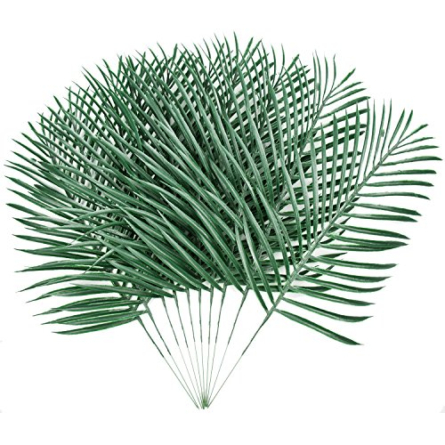 Sunm boutique 10 Pack Palm Leaves Artificial Plants Leaves Green Leaf Palm for Home Kitchen Party Supplies Tropical Leaves Decorations -