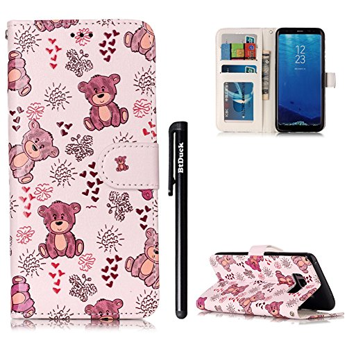 BtDuck Leather Case for Samsung Galaxy S8 / Embossed Cute Little Bear Brown...