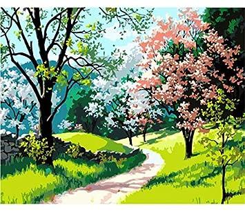 Puzzle 3d Mañana De Primavera Paisaje Arte De La Pared Para Colorear