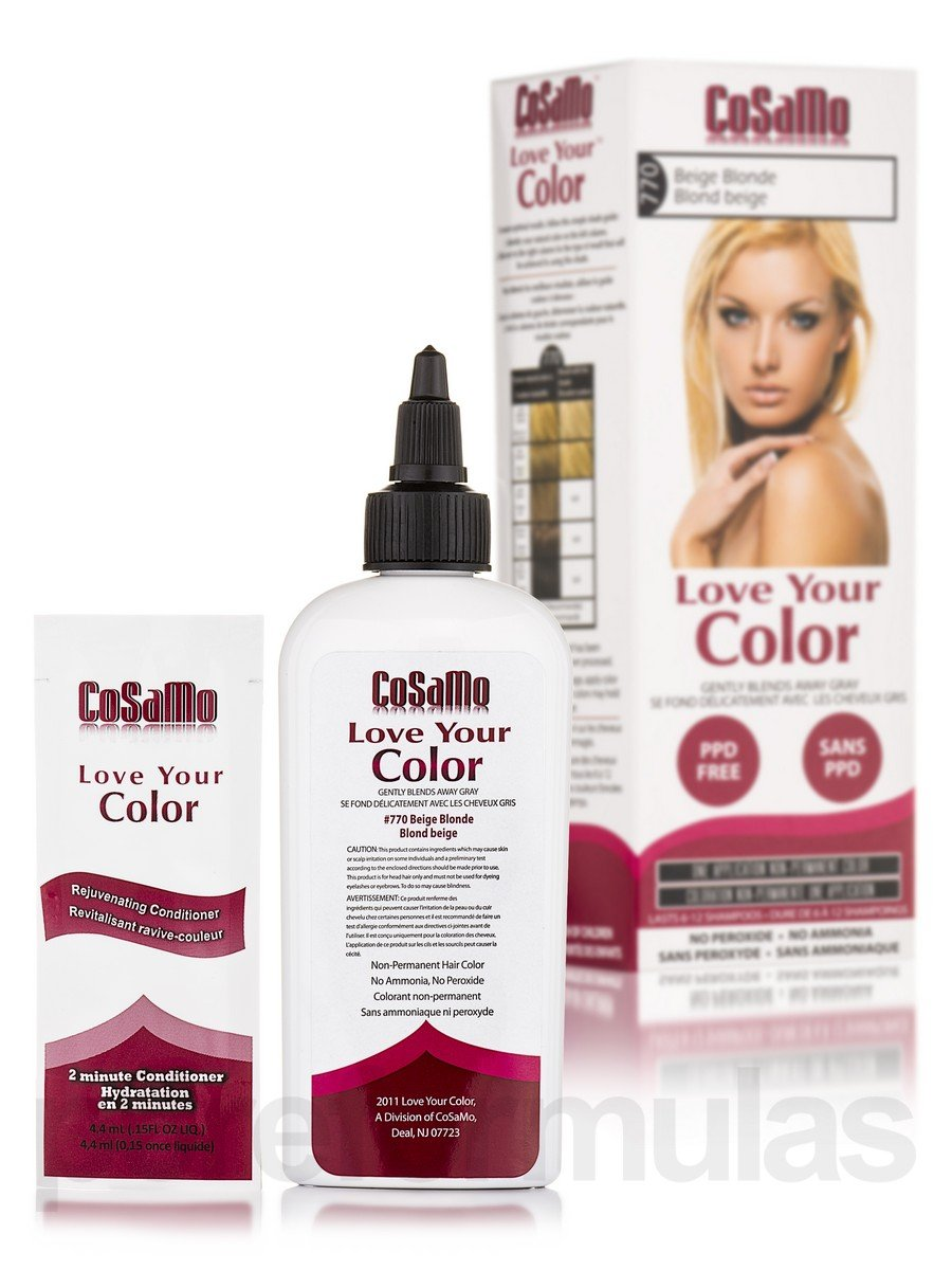 CoSaMo - Love Your Color Non Permanent Hair Color 770 Beige Blonde - 3 oz NEW PACKAGING Like Clairol , L'Oreal , Garnier , John Frieda , Nice n Easy , Revlon haircolor ... No PPD or No Ammonia ! Paraben FREE ! PPD FREE ! No P