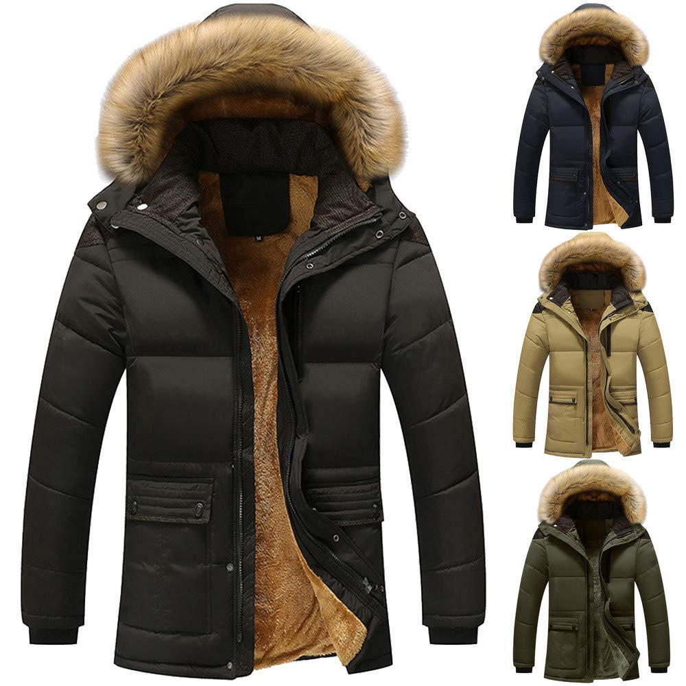 YOcheerful Mens Thickened Down Jacket Warm Winter Overcoat Outerwear Hooded Parka Anorak Solid Blouse Top Coat