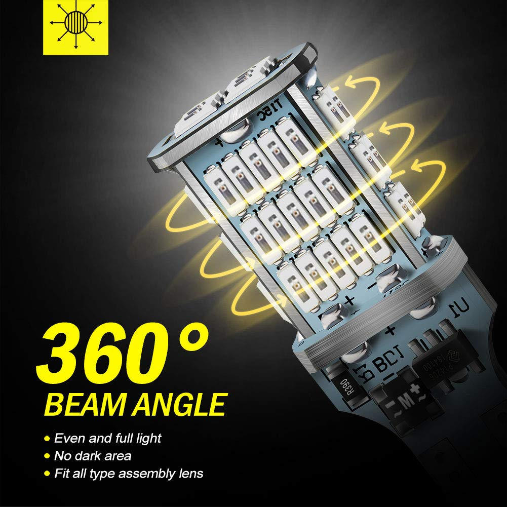 CANBUS 48-SMD 4014 Chipsets 1300 Lumens LED Replacement for Car Backup Reverse Center High Mount Stop Light Bulbs ANTLINE Extremely Bright 921 912 906 T15 W16W LED Bulb White Pack of 2